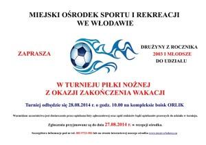 Plakat - turniej piłki nożnej z okazji zakończenia wakacji